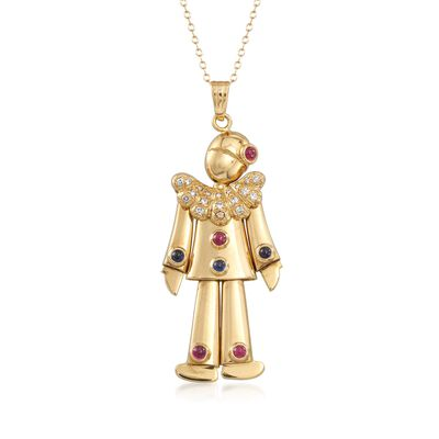 C. 1980 Vintage .40 ct. t.w. Ruby and .30 ct. t.w. Sapphire Clown Pendant Necklace With Diamonds in 14kt and 18kt Gold, , default