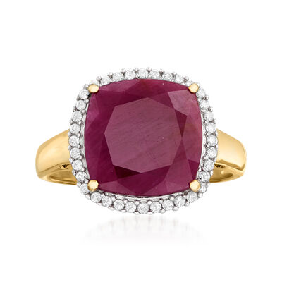 6.30 Carat Ruby and .16 ct. t.w. Diamond Ring in 14kt Yellow Gold, , default