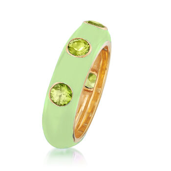 1.50 ct. t.w. Peridot and Green Enamel Ring in 18kt Gold Over Sterling