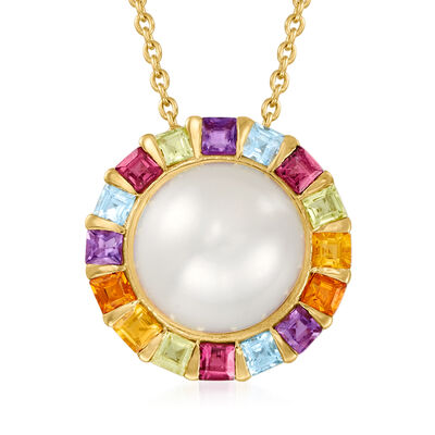 11mm Cultured Pearl and .50 ct. t.w. Multi-Gemstone Pendant Necklace in 18kt Gold Over Sterling