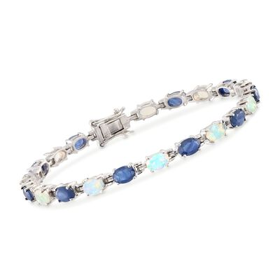 Ethiopian Opal and 4.80 ct. t.w. Sapphire Bracelet in Sterling Silver, , default