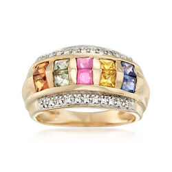 1.50 ct. t.w. Multicolored Sapphire Ring With .14 ct. t.w. Diamonds in 14kt Yellow Gold, , default