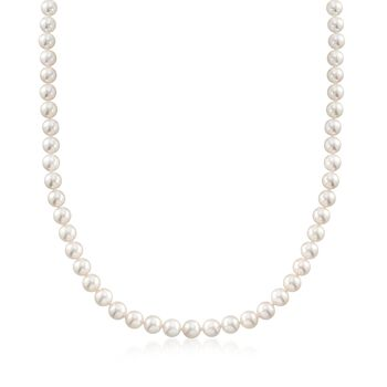 """Mikimoto 6-7mm A1 Akoya Pearl Jewelry Set: Necklace and Earrings with 18kt Yellow Gold. 18"""", , default"""
