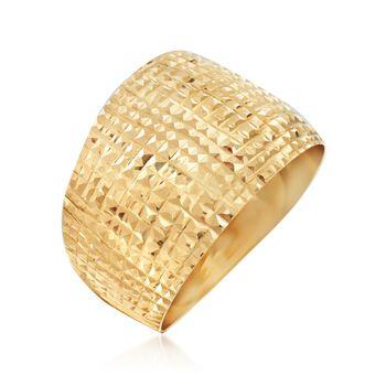 Italian Diamond-Cut 18kt Yellow Gold Wide Ring, , default
