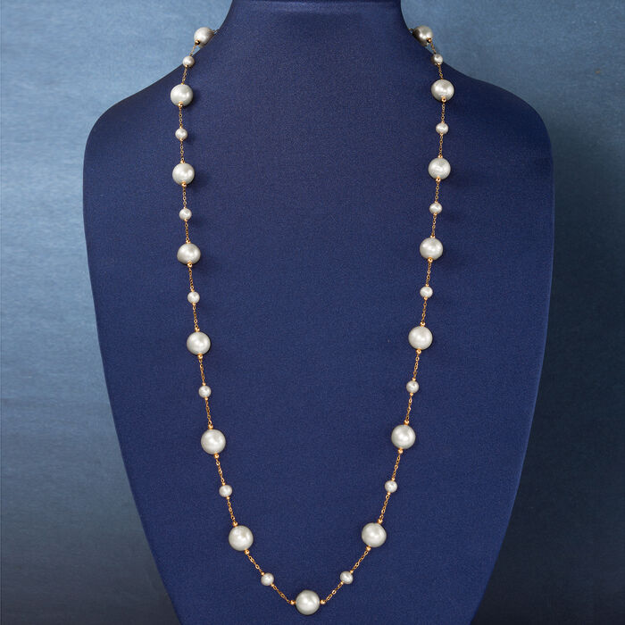 6-13mm Cultured Pearl Station Necklace in 14kt Yellow Gold
