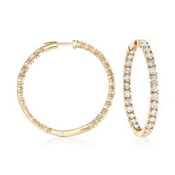 "10.00 ct. t.w. Diamond Inside-Outside Hoop Earrings in 14kt Yellow Gold. 1 5/8"", , default"