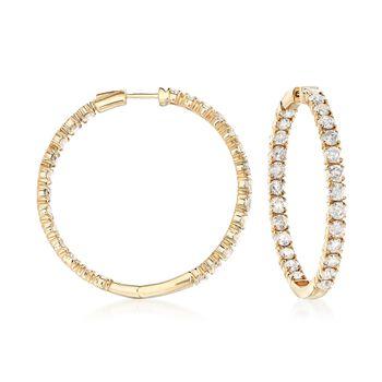 """10.00 ct. t.w. Diamond Inside-Outside Hoop Earrings in 14kt Yellow Gold. 1 5/8"""", , default"""