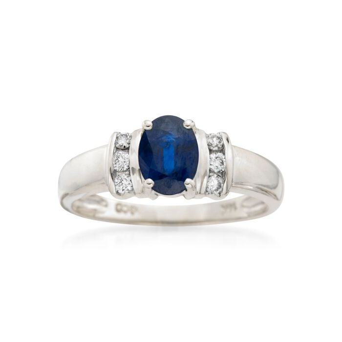 .75 Carat Sapphire and .10 ct. t.w. Diamond Ring in 14kt White Gold