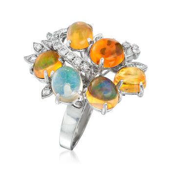 "C. 1970 Vintage Multicolored Opal and .65 ct. t.w. Diamond Cocktail Ring in 18kt White Gold. 6.5"", , default"