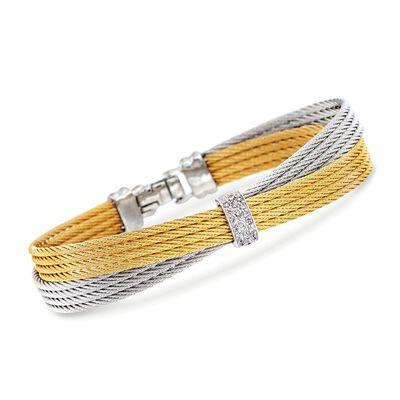 """ALOR """"Classique"""" .16 ct. t.w. Diamond Two-Tone Cable Bracelet with 18kt White Gold, , default"""