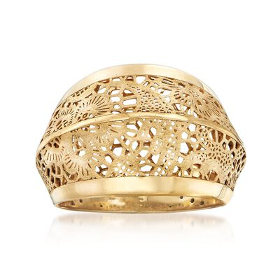 Italian 18kt Yellow Gold Floral Openwork Ring, , default