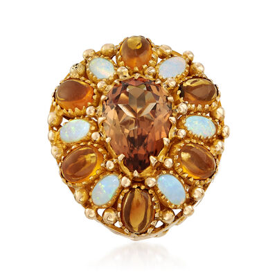 C. 1970 Vintage Opal, 4.50 Carat Smoky Topaz and 2.40 ct. t.w. Citrine Ring in 14kt Yellow Gold, , default