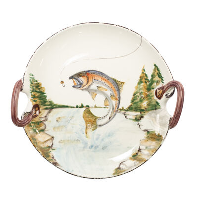 "Vietri ""Wildlife"" Rainbow Trout Handled Round Platter from Italy"