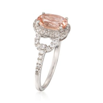 1.70 Carat Morganite and .50 ct. t.w. CZ Ring in Sterling Silver, , default