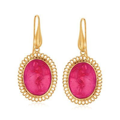 Italian Red Venetian Glass Intaglio and Mother-Of-Pearl Drop Earrings in 18kt Gold Over Sterling
