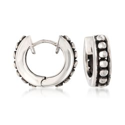Zina Sterling Silver Beaded Hoop Earrings, , default
