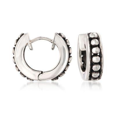 Zina Sterling Silver Beaded Hoop Earrings, , default