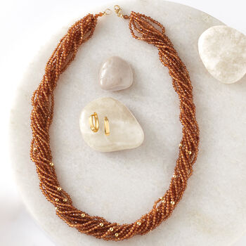 2-2.5mm Hessonite Torsade Bead Necklace with 14kt Yellow Gold