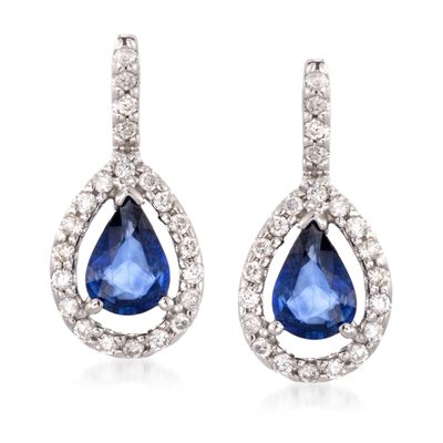 1.60 ct. t.w. Sapphire and .45 ct. t.w. Diamond Earrings in 14kt White Gold, , default