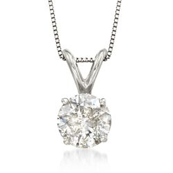 1.00 Carat Diamond Pendant Necklace in 18kt White Gold, , default
