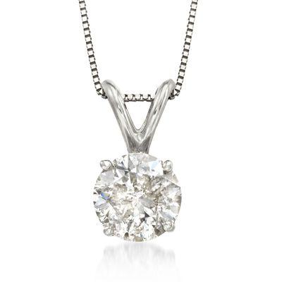 1.00 Carat Diamond Pendant Necklace in 18kt White Gold, , default