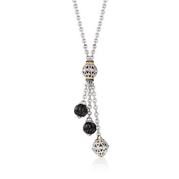 "Andrea Candela ""La Corona"" Black Onyx Tassel Necklace in 18kt Yellow Gold and Sterling Silver. 17"", , default"