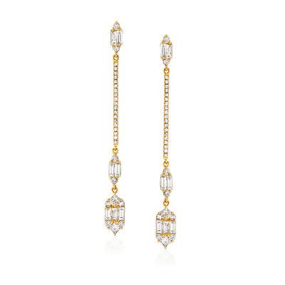 1.25 ct. t.w. Diamond Linear Drop Earrings in 18kt Yellow Gold, , default