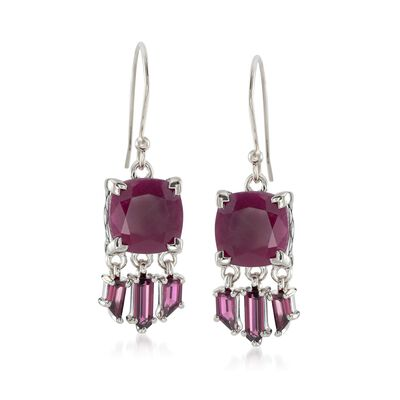 11.00 ct. t.w. Ruby and 2.00 ct. t.w. Rhodolite Garnet Drop Earrings in Sterling Silver, , default