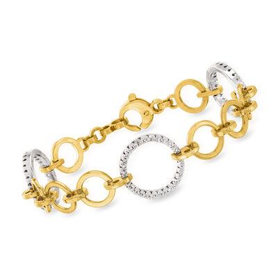 C. 1980 Vintage .65 ct. t.w. Diamond Bracelet in 14kt Two-Tone Gold