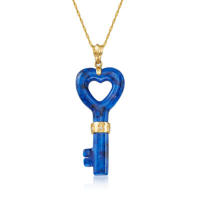 18x40mm Lapis Heart Key Pendant Necklace with Diamond Accents in 14kt Yellow Gold