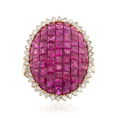 5.25 ct. t.w. Pave Ruby and .60 ct. t.w. Diamond Ring in 18kt Yellow Gold