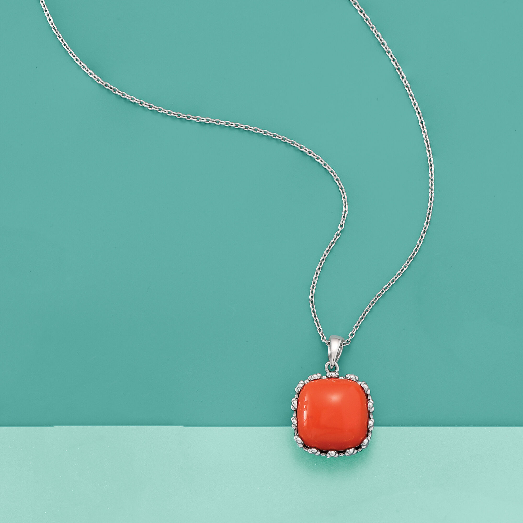 Ross-Simons Orange Coral Square Pendant Necklace in Sterling Silver