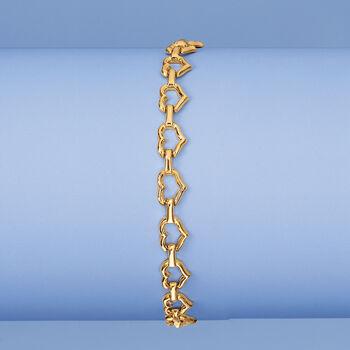 "14kt Yellow Gold Heart-Link Bracelet. 7.25"", , default"