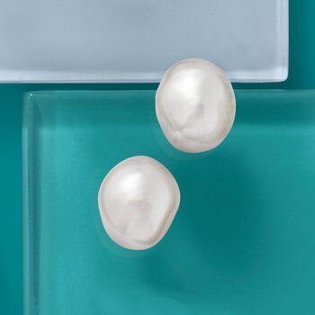 16x13mm Cultured Baroque Pearl Earrings in 14kt Yellow Gold