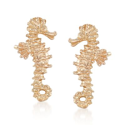 14kt Yellow Gold Mini Seahorse Stud Earrings, , default