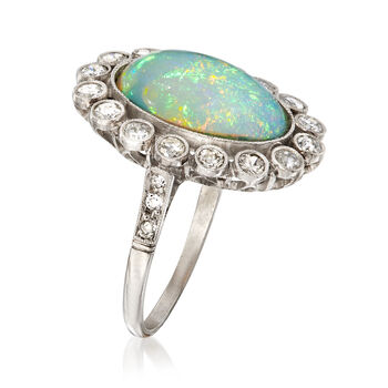 C. 1950 Vintage Opal and .75 ct. t.w. Diamond Ring in Platinum. Size 5.5, , default