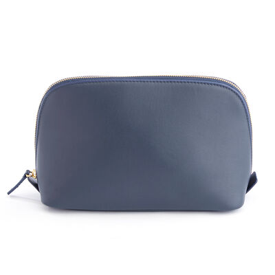 Royce Blue Leather Cosmetic Bag