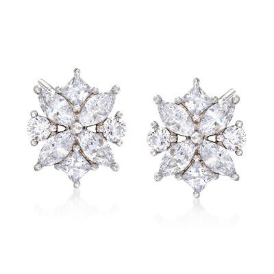 1.90 ct. t.w. Multi-Cut CZ Floral Earrings in Sterling Silver, , default