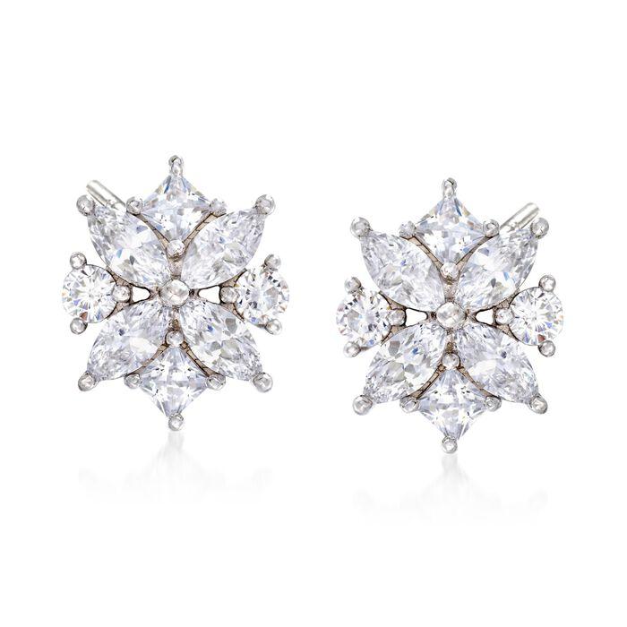 1.90 ct. t.w. Multi-Cut CZ Floral Earrings in Sterling Silver, , default