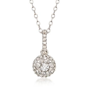 ".29 ct. t.w. Diamond Illusion Pendant Necklace in 14kt White Gold. 18"", , default"