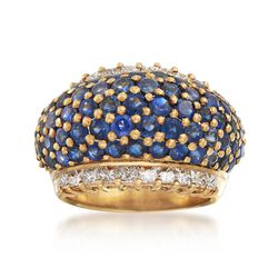 C. 1980 Vintage 4.50 ct. t.w. Sapphire and 1.50 ct. t.w. Diamond Dome Ring in 18kt Yellow Gold. Size 6.75, , default