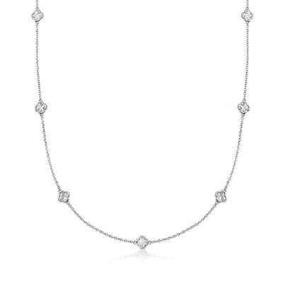 4.00 ct. t.w. Clover-Shaped CZ Station Necklace in Sterling Silver, , default