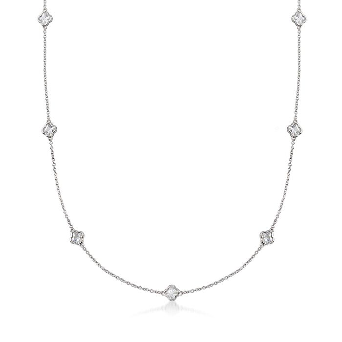 """4.00 ct. t.w. Clover-Shaped CZ Station Necklace in Sterling Silver. 18"""", , default"""