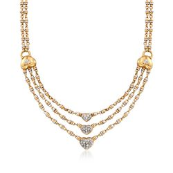 "C. 1990 Vintage .75 ct. t.w. Diamond Heart Necklace in 18kt Two-Tone Gold. 15.5"", , default"