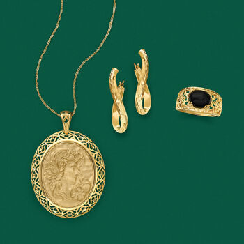 Italian 14kt Yellow Gold Cameo-Inspired Pendant Necklace, , default