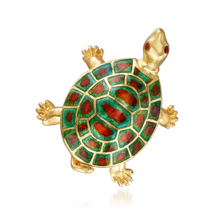 C. 1970 Vintage 18kt Yellow Gold and Enamel Turtle Pin