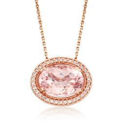 "5.00 Carat Morganite and .23 ct. t.w. Diamond Necklace in 14kt Rose Gold. 18"", , default"