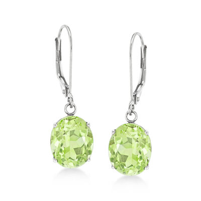 4.50 ct. t.w. Peridot Drop Earrings in 14kt White Gold, , default