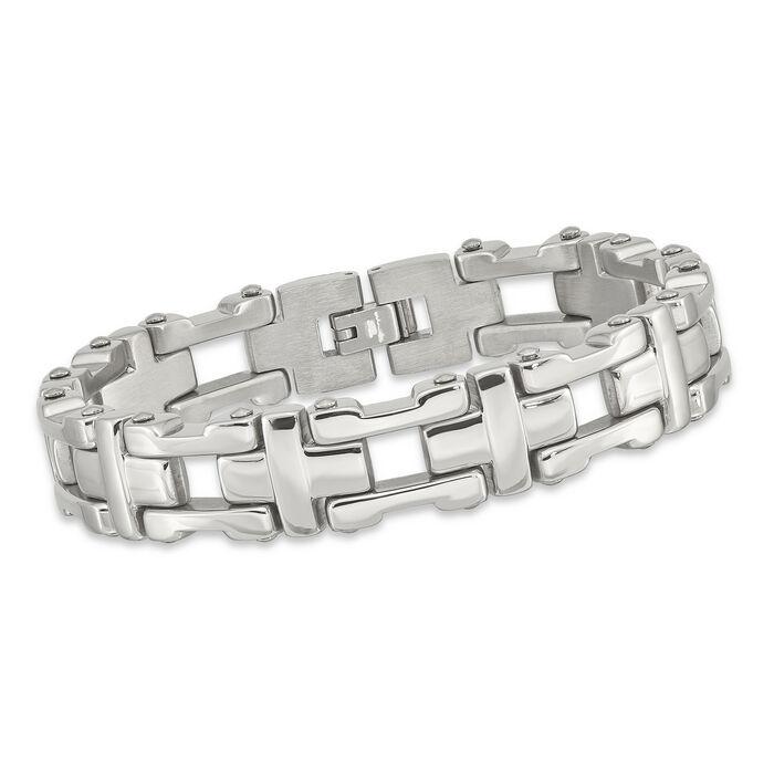 """Men's Stainless Steel Polished Link Bracelet. 8.5"""", , default"""