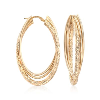 Italian 14kt Yellow Gold Triple Hoop Earrings, , default